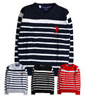 Boys Stripe Jumper New Kids Long Sleeved Knitted V Neck Sweater Grey 2 Years