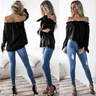 Women's Off-Shoulder Solid Casual Long Sleeve Shirt Blouse Loose T-shirt Tops
