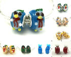 Choose 2ps SILVER MURANO GLASS BEAD LAMPWORK Animal fit European Charm Bracelet