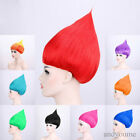 Adult Trolls Style Festival Party Halloween Colorful Elf Pixie Wig Hair Cosplay