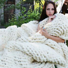 Large Warm Soft Sofa Chunky Knit Blanket Thick Yarn Wool Bulky Knitted Throw