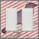 Metal Light Switch Plate Cover - Bird Decor Branch Stripes Decor Pink Purple