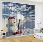 Snowman Standing With Xmas Gift 3D Blockout Curtain 2Panels Drapes Fabric Window