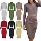 Womens Ladies Ruched Polo Neck Cropped Top Bodycon Pencil Midi Skirt Co Ord Set