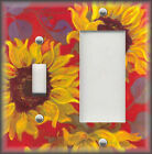 Metal Light Switch Plate Cover - Yellow Red Purple Sunflowers Art Design Decor