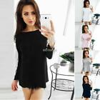 Women Casual O-Neck Long Sleeve Lace Patchwork Basic T-Shirt K0E1