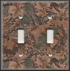 Metal Light Switch Plate - Rustic Cabin Decor Real Tree Camo Leaves Decor