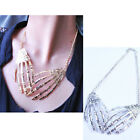 Women Cool Skeleton Skull Hand Bone Claw Chain Pendant Necklace Accessories Gift