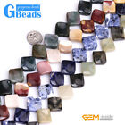 """15mm Assorted Stones Square Twist Beads For Jewelry Making Free Shipping 15"""""""