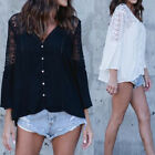ZANZEA 8-24 Women Plus Size Bell Sleeve Crochet Lace Blouse Button Up Top Shirt