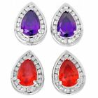 CZ Earrings Purple or Red CZs 925 Sterling Silver 7.50 ctw Choose Your Color ss