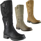 New Womens Ladies High Biker Mid Calf Boots Buckle Long Zip Low Heel Shoes Size