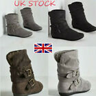Kyпить UK Women's Slip On Shoes Suede Buckle Ankle Slouch Boots Flats Biker Size 3 - 8 на еВаy.соm