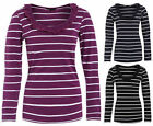 Ladies Long Sleeved Stripe T Shirt New Womens 100% Cotton Soft Touch Top UK 8-22