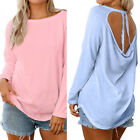 NEW Women Hollow Back Long Sleeve T Shirt Loose Casual Blouse Crewneck Tops
