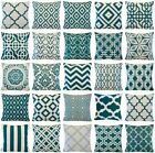 Teal Blue Geometric Art Throw PILLOW COVER Sofa Couch Bed Cu