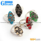 14x29mm Marquise Beads Tibetan Silver Marcasite Ring Fashion Jewelry 8 Materials