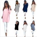 Fashion Autumn Winter Dress Womens V-Neck Loose Knitted Oversized Baggy Sweater