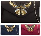 WOMENS LADIES FAUX SUEDE SEQUINED BUTTERFLY ENVELOPE CLUTCH BAG EVENING BAG