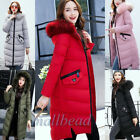 Women Long Winter Down Jacket Padded Thicken Fur Collar Hooded Parka Outwear New
