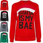 Womens Ladies Knitted Chirstmas Xmas Sweater Santa is My Bae Hat Pullover Jumper