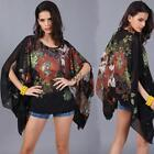 Women Summer Batwing Sleeve Asymmetrical Floral Chiffon Blouse Beach TXST