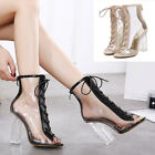 Women Roman Gladiator Ankle Boots Clear Lace Up Peep Toe Block High Heel Shoes