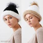 Bosroom Women's Genuine Silver Fox Mink Raccoon Fur Mix Color Beanie 2 Colors