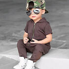 Kids Baby Boy Summer Romper Jumpsuit Bodysuit Hooded Overalls Playsuit fashionab