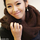 Lady Women Warm 2 Circle Cable Knit Cowl Neck Long Tassel Scarf Winter Shawl
