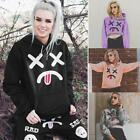 Women Casual Hooded Long Sleeve Printed Center Roomy Pockets Hoodie TXST