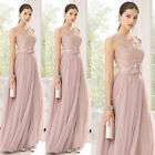 Beautiful Blush/Lace Long Bridesmaid Dresses Evening Prom Dress Ball Gown 6-24