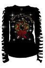 Bling Bling Rhinestone T-Shirt,Merry Christmas with Wreath Ripped Cut Out S~3XL