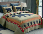 Rustic Cabin Lodge BLACK BEAR PAW Wildlife Animal Southwestern T/F/Q/K Quilt Set image