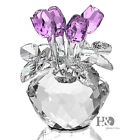 Crystal Cut Glass Flower Figurines Rose Living Room Wedding Xmas Gift Ornaments