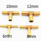 6,8,10,12mm Brass Barbed Pipe Fittings Tee Connector Joints For Hose PU Tube Lot