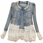 Women Pearl Denim Jacket Coat Lace Splicing Jeans Jacket Denim Party Outwear ILC