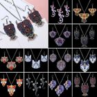 Double-Side Animal Printing Owl Elephant Cat Necklace Earrings Set Women Jewelry