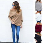 Sexy Women Autumn Long Sleeve Sweater Batwing One Shoulder Pullover Jumper Tops