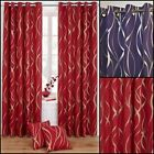 Metallic Swirl Lined Ring Top Curtains Range (Pair) - Limited Stock Only