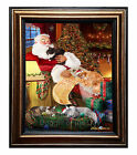 Maine Coon Cats and Kittens Sleeping with Santa Framed Ca...