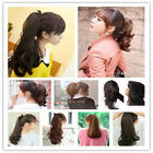 100% Women Thick Ponytail Hair Extensions Straight Curly Wavy Wrap Pony Tail