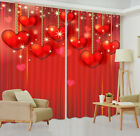 3D Valentine's Heart Dangle Blockout Photo Printing Curtain Drapes Fabric Window