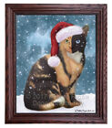 Let it Snow Christmas Holiday Chimera Cat Framed Canvas Print Wall Art D295