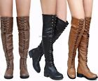New Women Rme Black Tan Taupe Combat Military Over Knee Lace Up Riding Boots