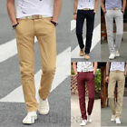 Men's Slim Fit Straight-Leg Trousers Casual Solid Pencil Business Long Pants New