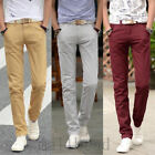 Men's Slim Fit Straight-Leg Trousers Casual Solid Pencil Business Long Pants Hot