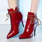 Women's Pointed Toe Back Zip Stiletto Heel Ankel Boots Bandage Bowknot Sz 4.5-8