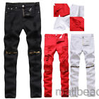 Men's Skinny Slim Biker Casual Pants Knee Zipper Distressed Ripped Denim Jeans