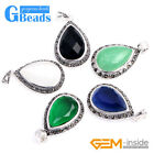 20x39mm Drip Gemstone Marcasite Silver Pendant With Free Necklace Chain Box GB